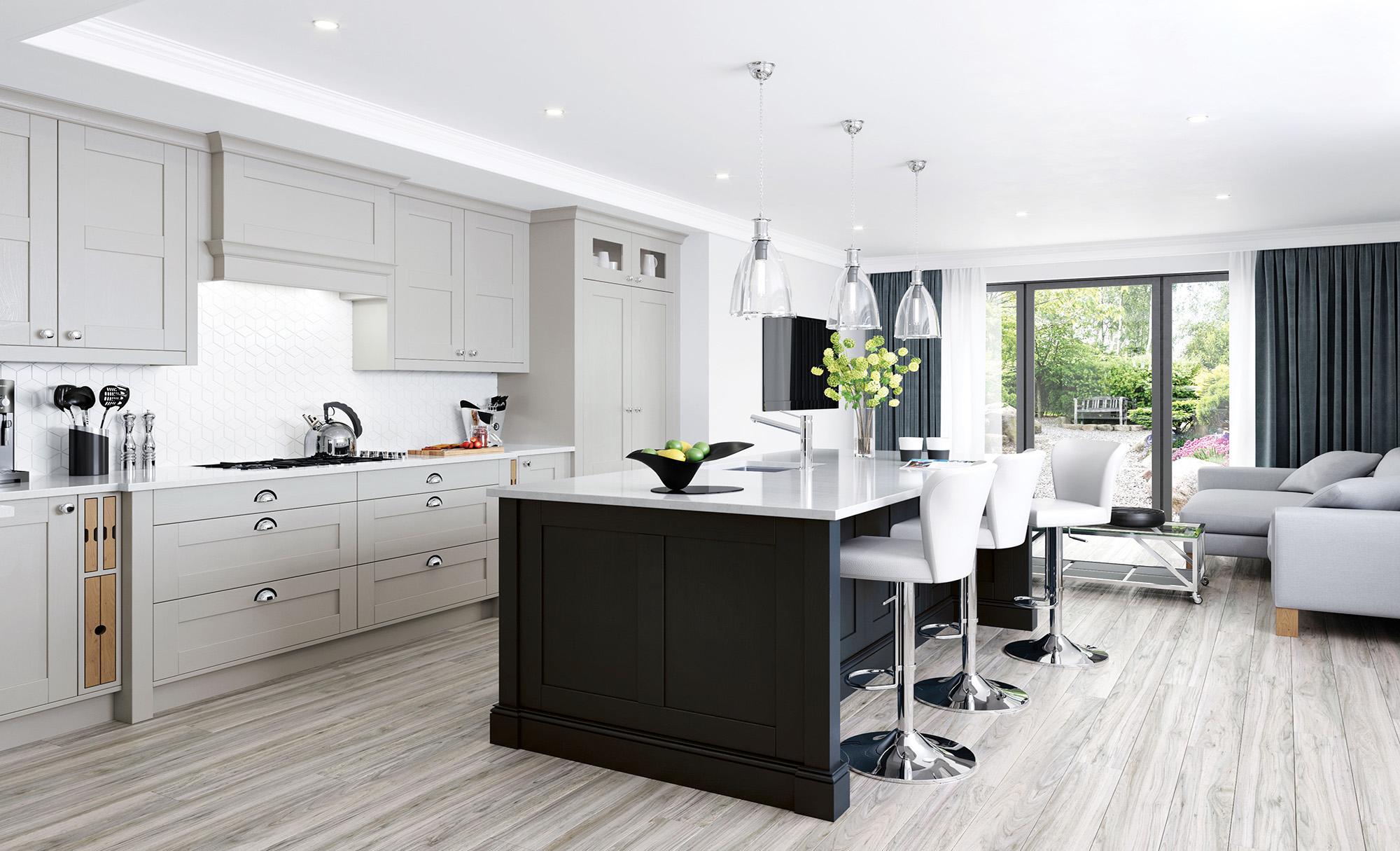 Cool Beautiful Clic Modern Madison Shaker Kitchen In Cashmere Graphite  Kitchen Doors Accessories Uform Source With Kchen Modern U Form With Uform  Kchen ...
