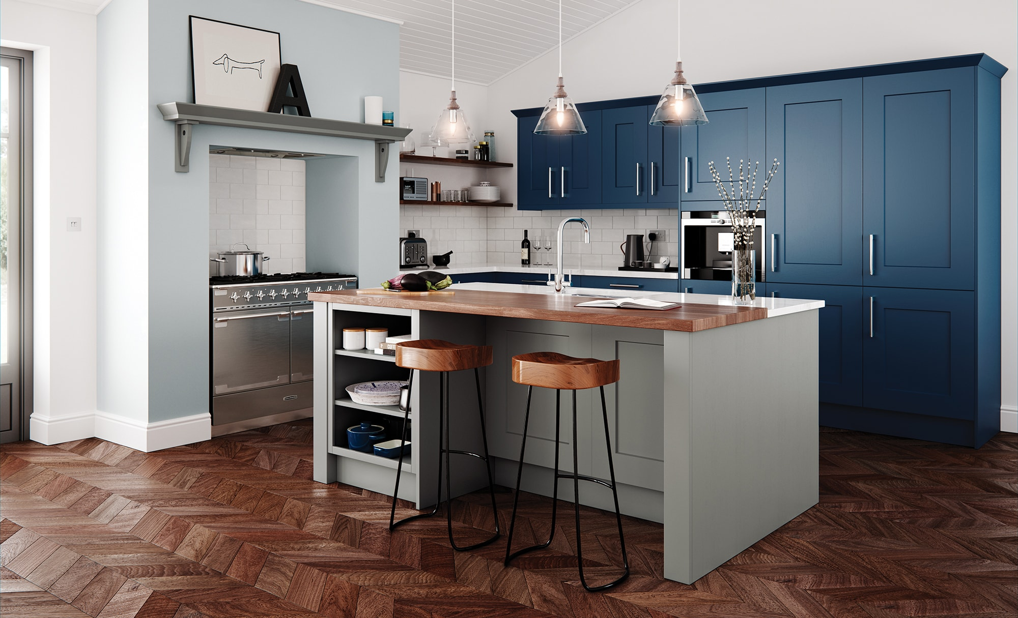 kitchen stone where to buy a island clonmel shaker parisian blue stori classic traditional in painted