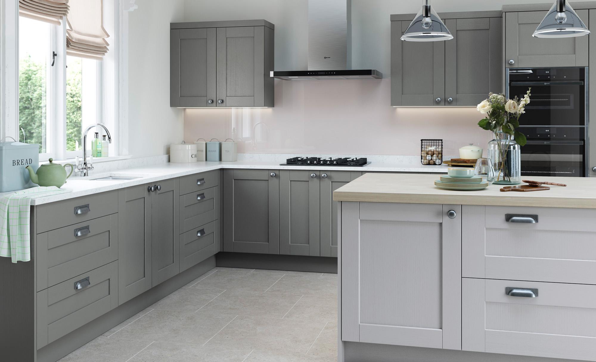 shaker style kitchen contemporary cabinets chicago doors kensington classic uform light grey dust