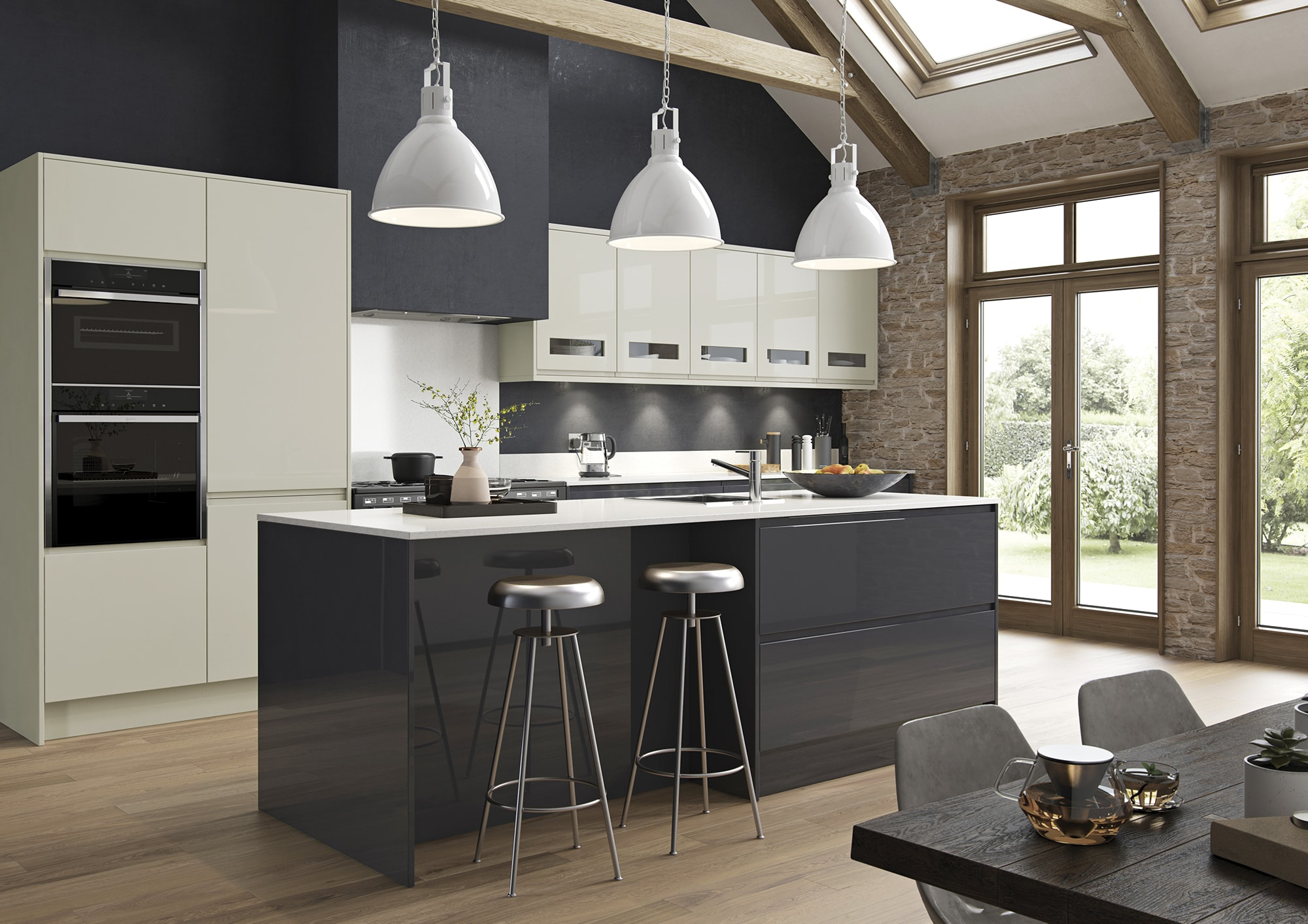 photos of kitchens island for kitchen handless strada gloss porcelain graphite uform in