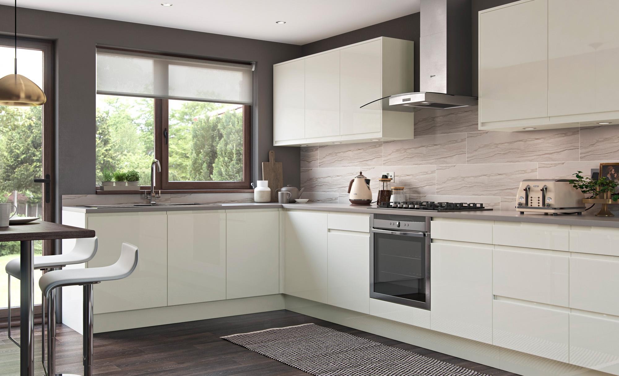 Handless Kitchen Doors Strada Gloss Porcelain Uform