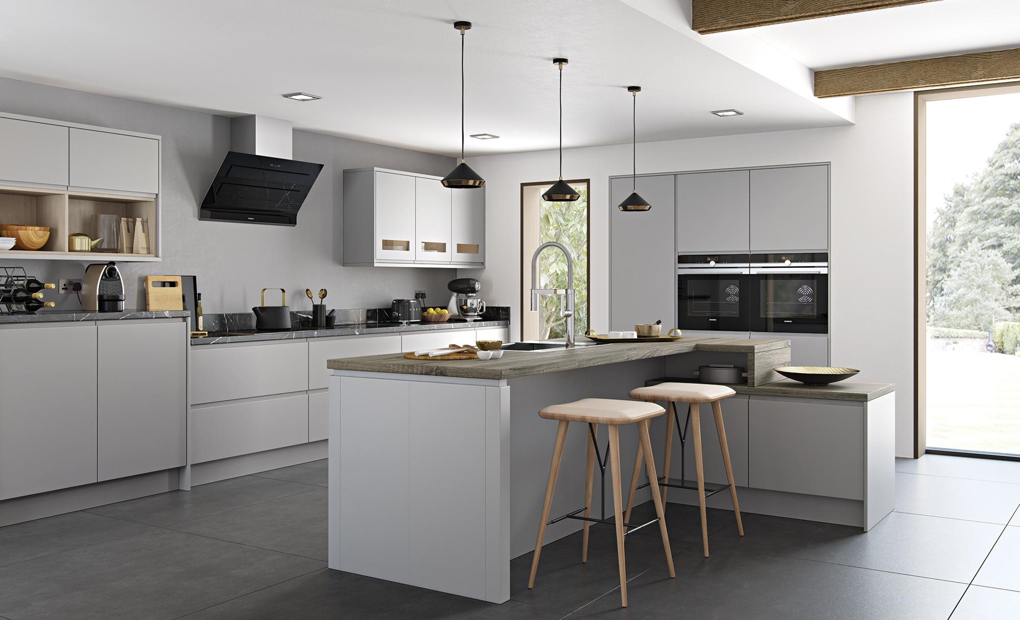 Strada Matte Contemporary Light Grey Kitchen Stori