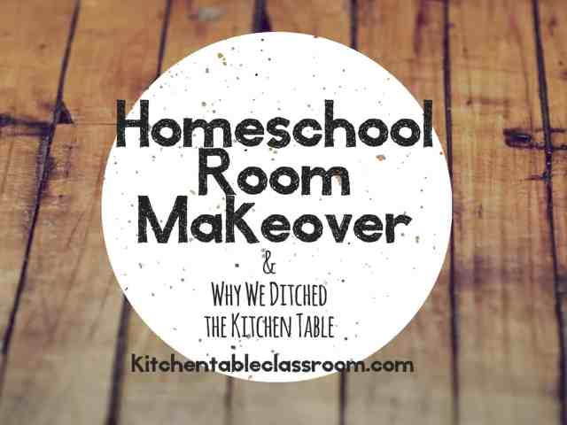 "Homeschool Room Makeover- Our first year of homeschooling was last year.  While I invested way too much money and research on curricula (way, way too much) I only bought a few storage boxes and a rolling cart to store books on.  I set up on a corner of the kitchen table and that's where did school, hence ""The Kitchen Table Classroom.""  This year a homeschool room was a priority.  We needed a new space that allowed quiet and focus."