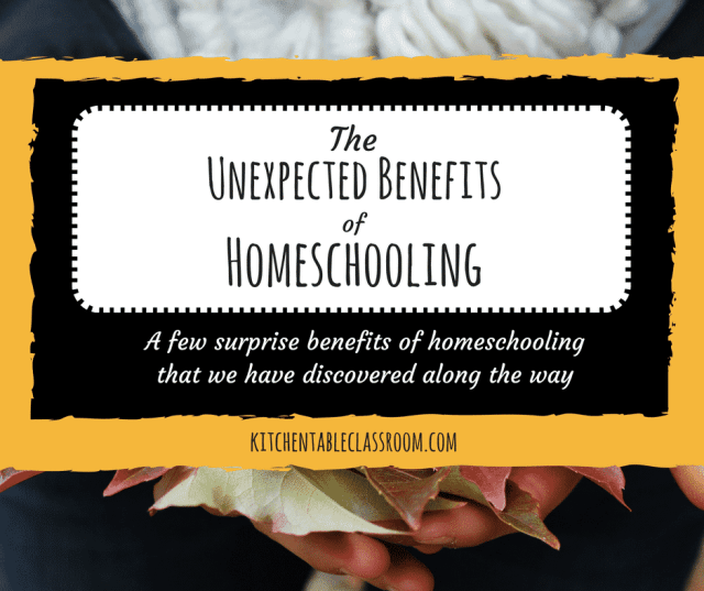 The Unexpected Benefits of Homeschooling As new homeschoolers we looked forward to many freedoms, both academic and personal. But there have been a few unexpected benefits of homeschooling that snuck up on us that we're enjoying just the same!