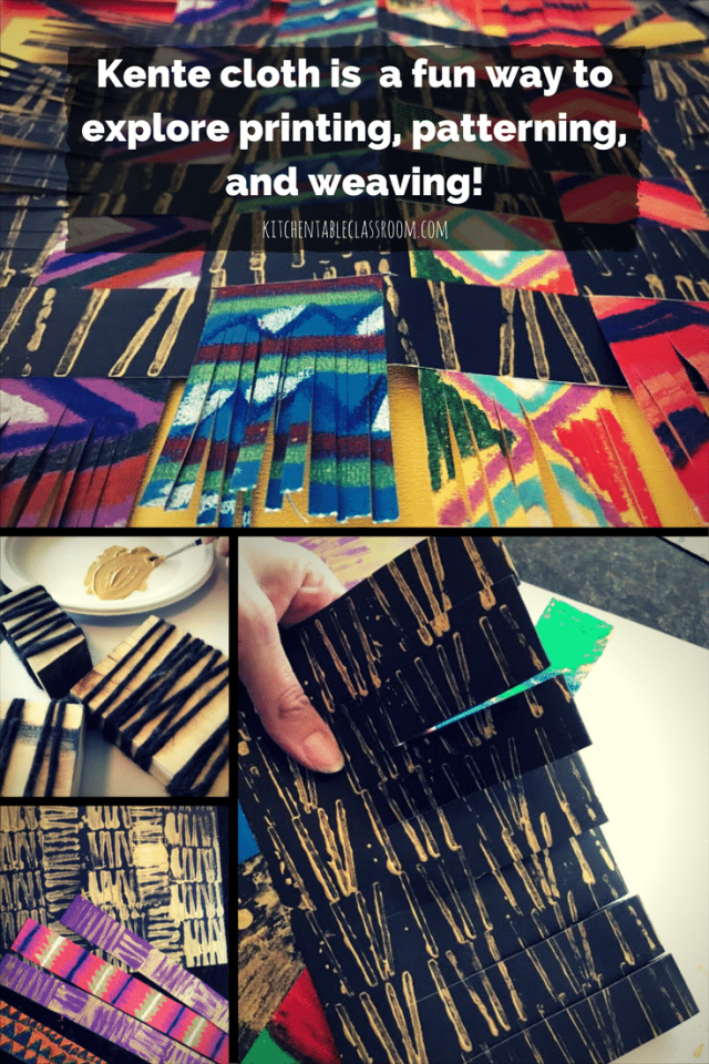 Kente cloth has bright colors, snappy geometric patterns.  All of these qualities make this woven cloth a natural for inspiring art work in little people.