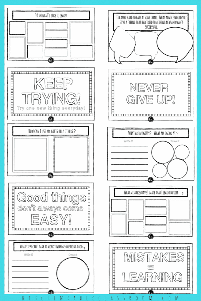 Color Growth Mindset Worksheet