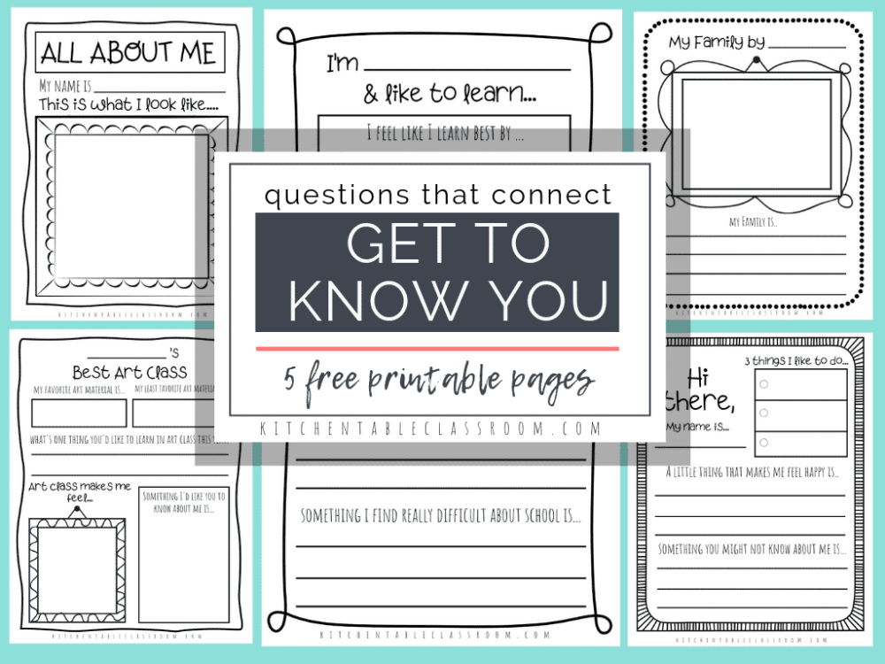 medium resolution of Questions that Connect- 5 Free Printable Get to Know You Pages - The  Kitchen Table Classroom