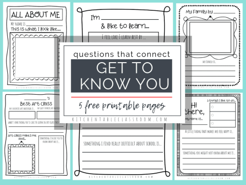 small resolution of Questions that Connect- 5 Free Printable Get to Know You Pages - The  Kitchen Table Classroom