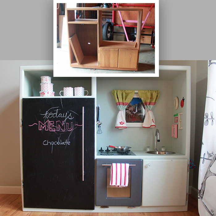 toddler play kitchens white kitchen cabinets with glass doors diy made out of an old entertainment center