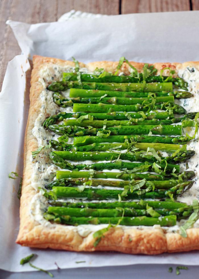 Asparagus Basil  Cream Cheese Tart with Optional Bacon