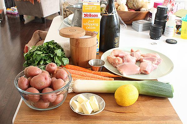 White wine braised chicken and potatoes