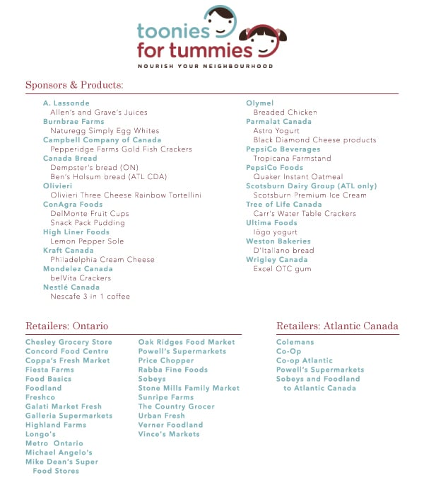 toonies for tummies stores