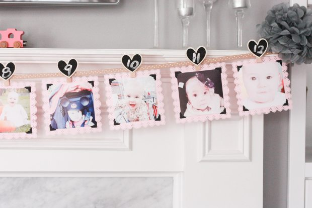 vintage pink party photo banner 4