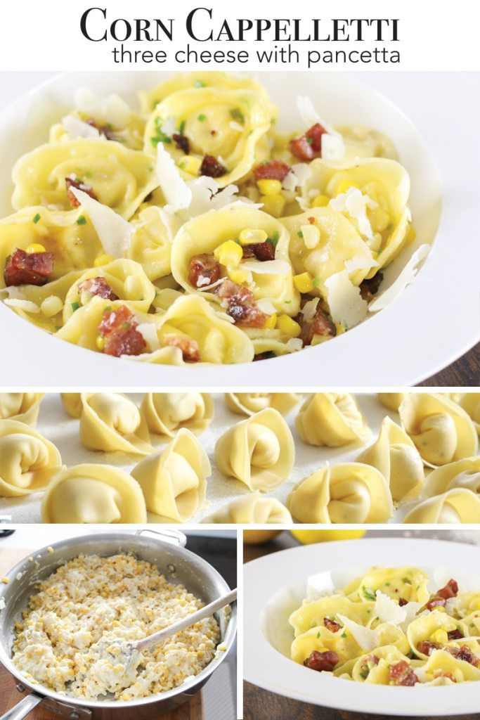 Three cheese corn cappelletti with pancetta - all from scratch, or hacks with grocery store pasta!