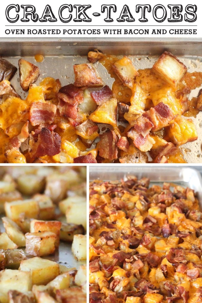 Crack-tatoes - super crispy oven roasted potatoes topped with cheese and bacon. Super easy and perfect every time.