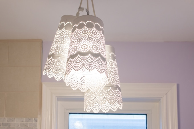 Ikea hack diy chandelier a pretty and delicate lace like pendant chandelier made for less than 35 using three aloadofball Choice Image