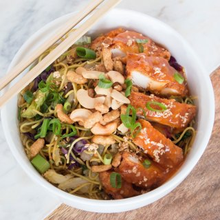 A delicious (and fast!) orange sesame chicken bowl done in 30 minutes. This is a new weeknight favorite!