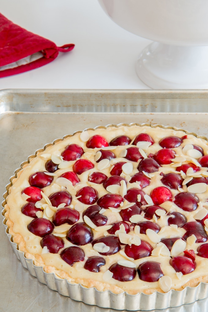 This cherry almond tart is AMAZING! It's got a solid crust and a mild almond flavoured filling to balance out the sweet summer cherries perfectly. Must Make!