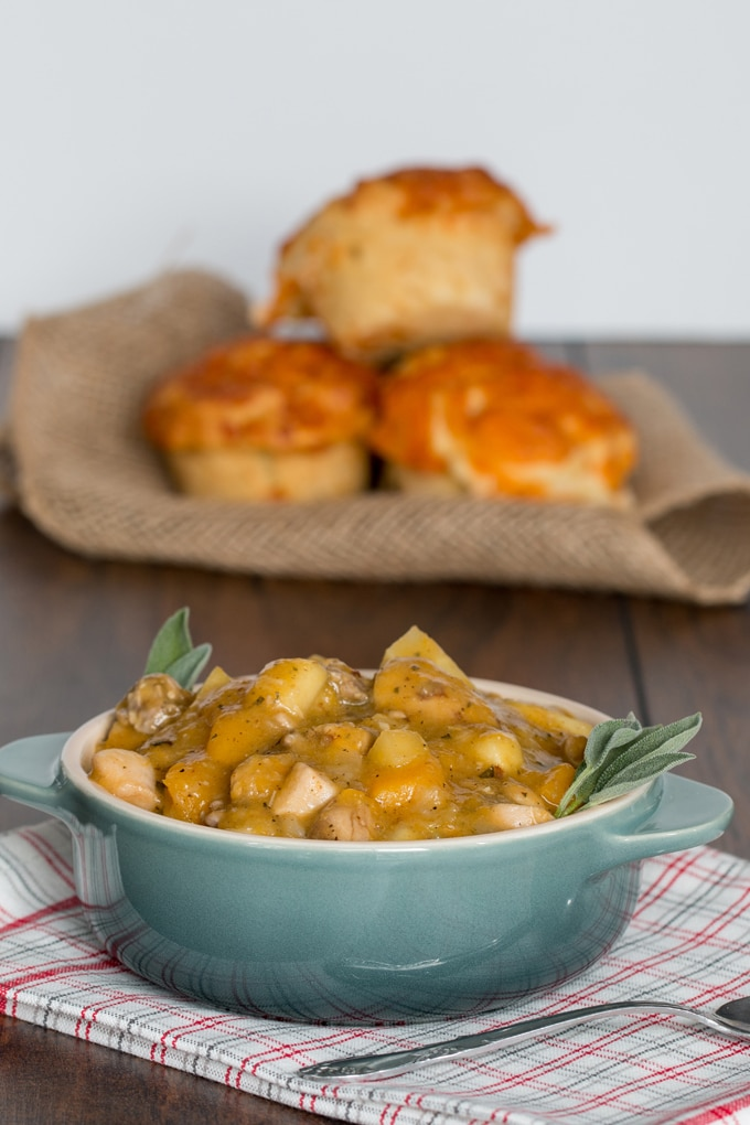 A fall harvest stew loaded with squash, parsnips, onions, apples, potatoes, chicken, and fresh cider, it's perfection paired with my apple cheddar biscuits.