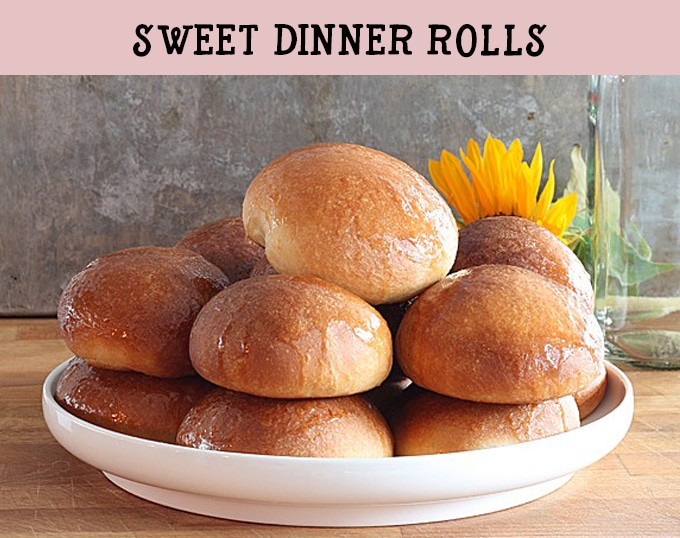 Sweet dinner rolls. Light and fluffy rolls with a honey butter glaze.