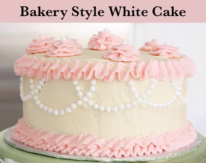 A bakery style vanilla sponge cake, or white cake. This is a great recipe to make layer cakes with!