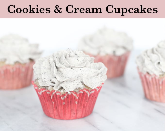 Bakery style cookies and cream cupcakes - Oreo crumb vanilla cupcakes topped with an Oreo frosting. What else could you need!