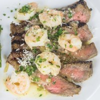 Buttermilk Ribeye with Garlic Shrimp