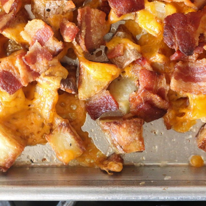Crack-tatoes aka roasted potatoes with bacon and cheese