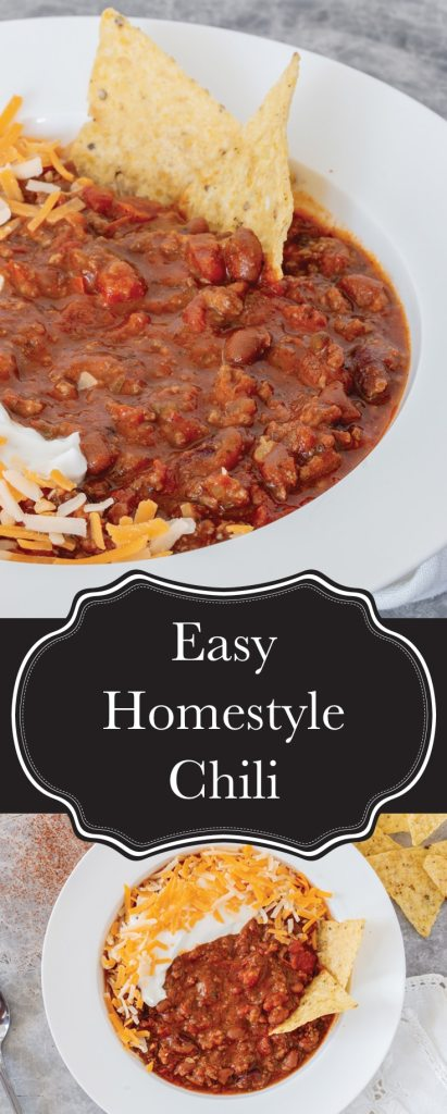An easy, homestyle chili recipe that's full of flavour, and as simple as dumping a bunch of stuff into a pot and letting it simmer.