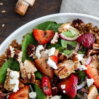 Strawberry Chicken Salad with Toasted Farro