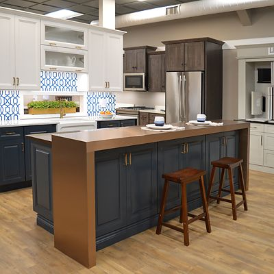 kitchen showroom island on wheels design showrooms cabinet views in ma kennedy display at newton