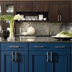 Kitchen Cabinets Ri Walmart Rugs Omega Vanities Cabinetry Contemporary Dark Stained With Blue Island