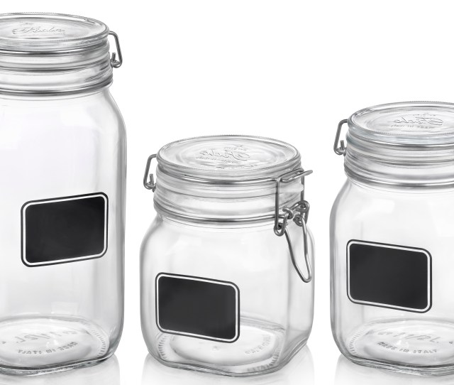 Bormioli Rocco Glass Fido Jars With Chalkboard Labels