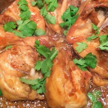 Bone in skin on chicken breasts with shallot ginger caramel sauce