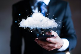 Cloud computing concept - connect to cloud. Businessman or infor
