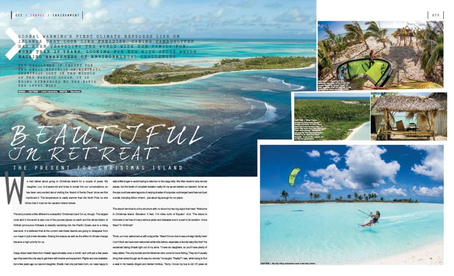 Carine Camboulives kitesurfing feature on Christmas Island in the Pacific Ocean
