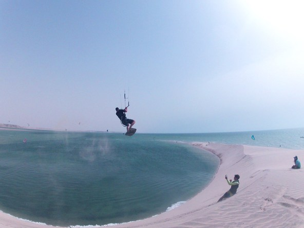 Boosting fun at the White Dune in Dakhla lagoon