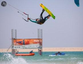 Carlos Mario in PKRA kitesurfing competition at Dakhla