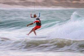 Wave kiting in Dakhla, Morocco