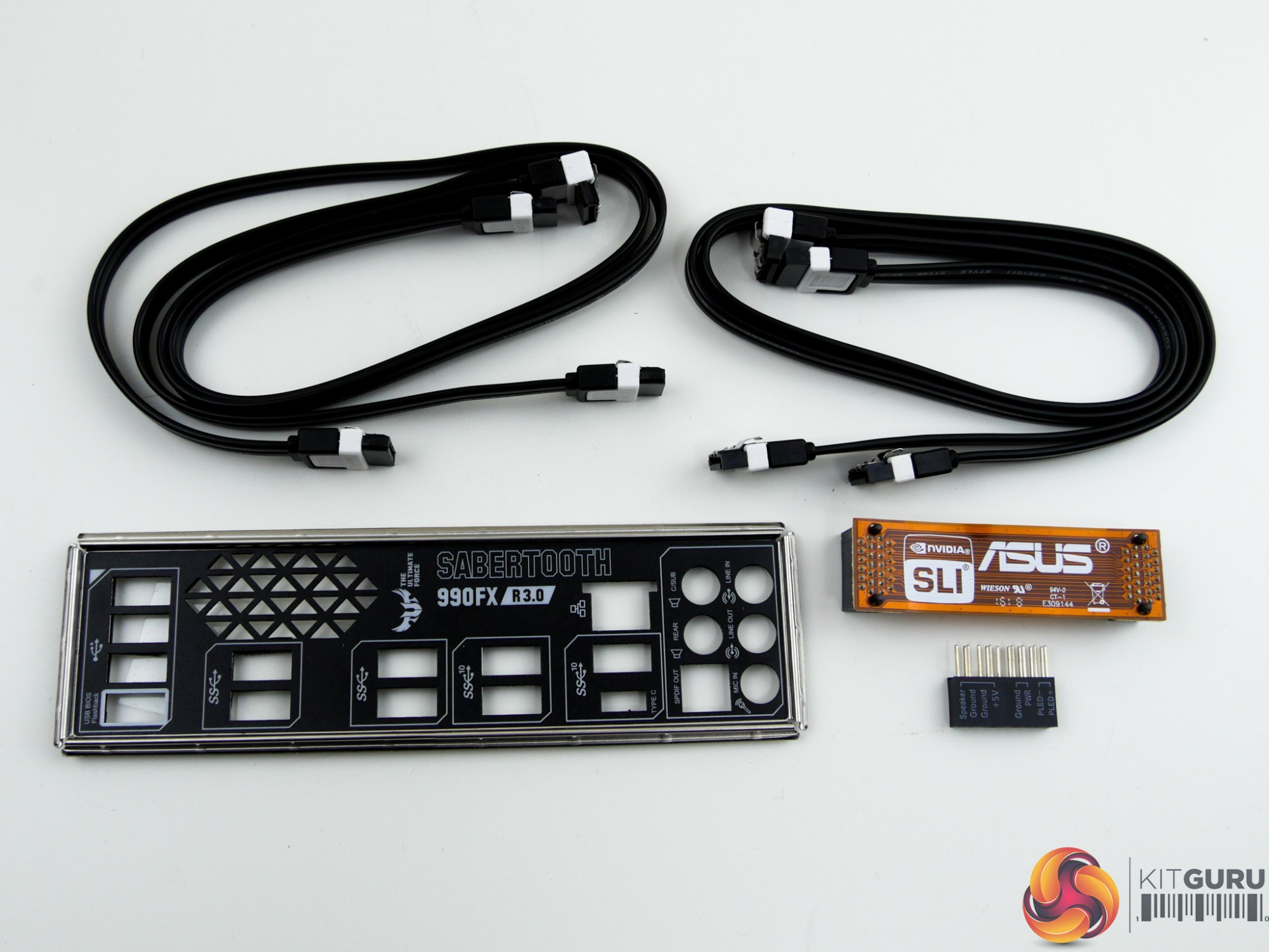 hight resolution of four sata cables the rear io shield with a vented section asus q connector block and an sli bridge form the accessory bundle