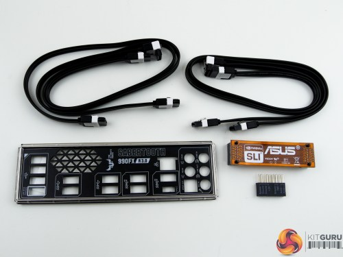 small resolution of four sata cables the rear io shield with a vented section asus q connector block and an sli bridge form the accessory bundle