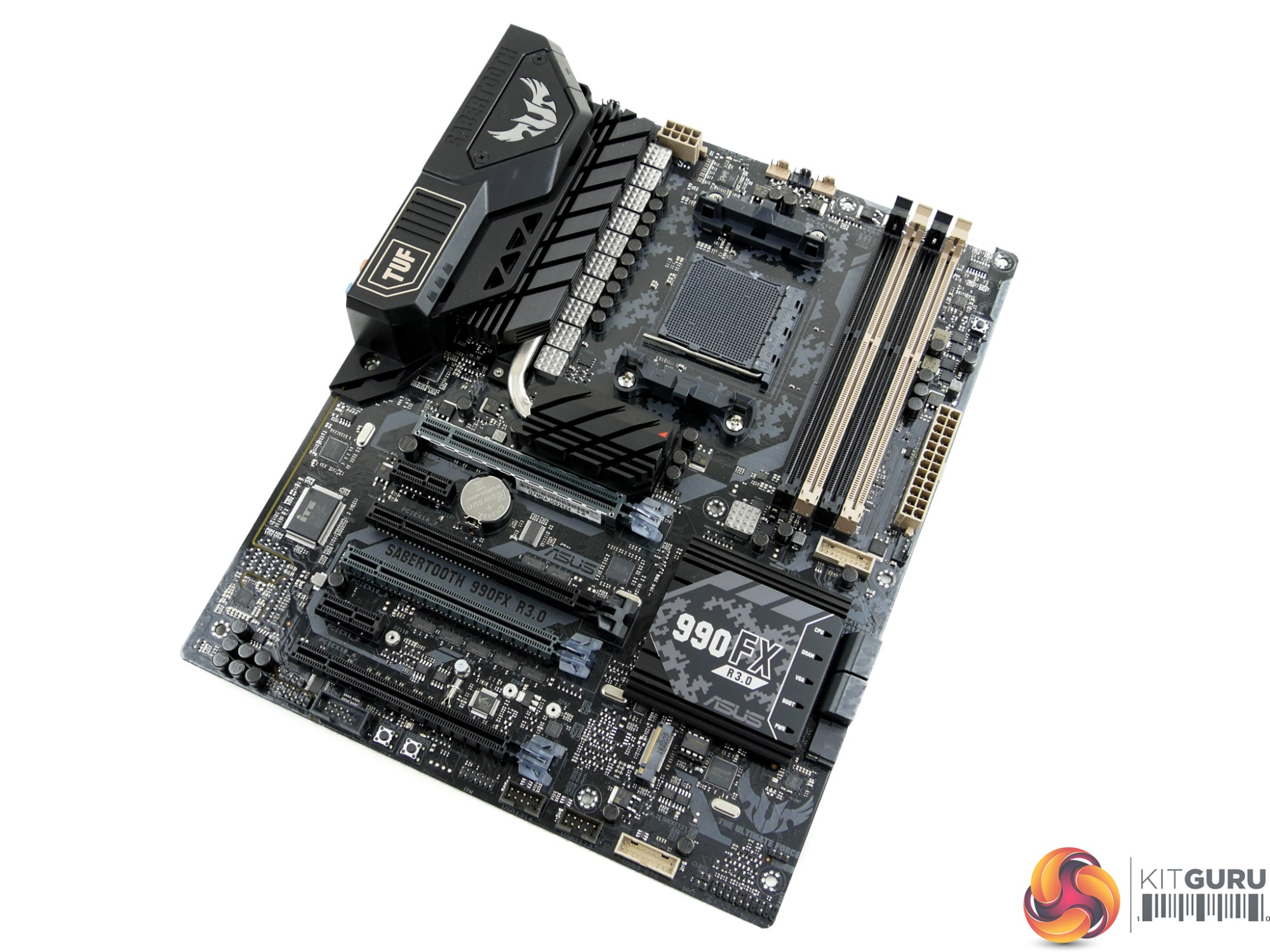 hight resolution of styling for the sabertooth 990fx r3 0 is typical for a tuf sabertooth board the pcb features a camo black and grey styling with a reflective finish while