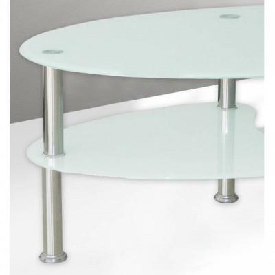Mesa de centro ovalada de cristal blanco barata