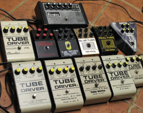 small resolution of middle row left to right chandler tube driver knockoff from 1988 dean markley overlord real tube knockoff from 1988