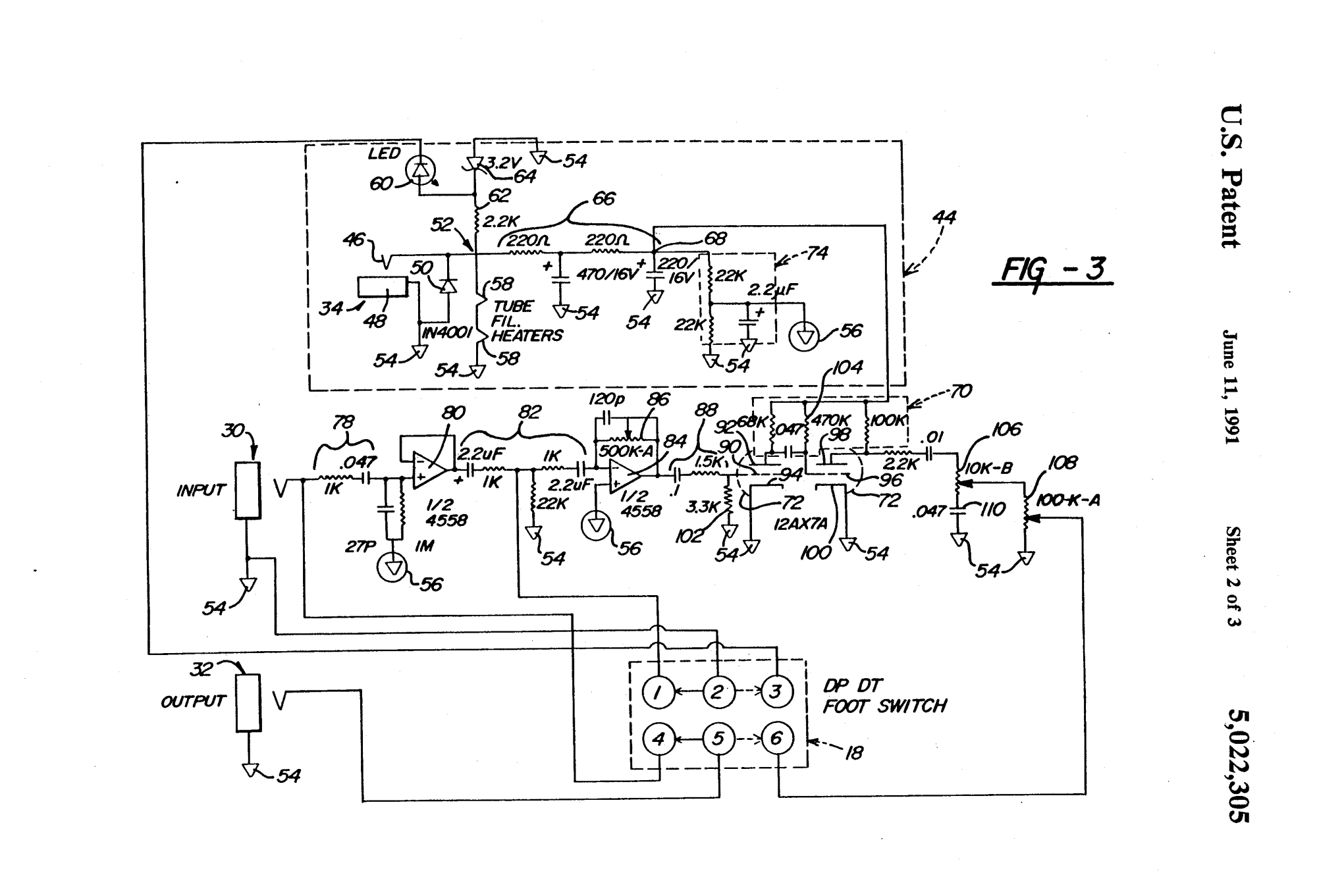 hight resolution of the original butler patent 5022305 from 1989 tube overdrive pedal operable using low voltage dc battery eliminator butler s tube driver circuit