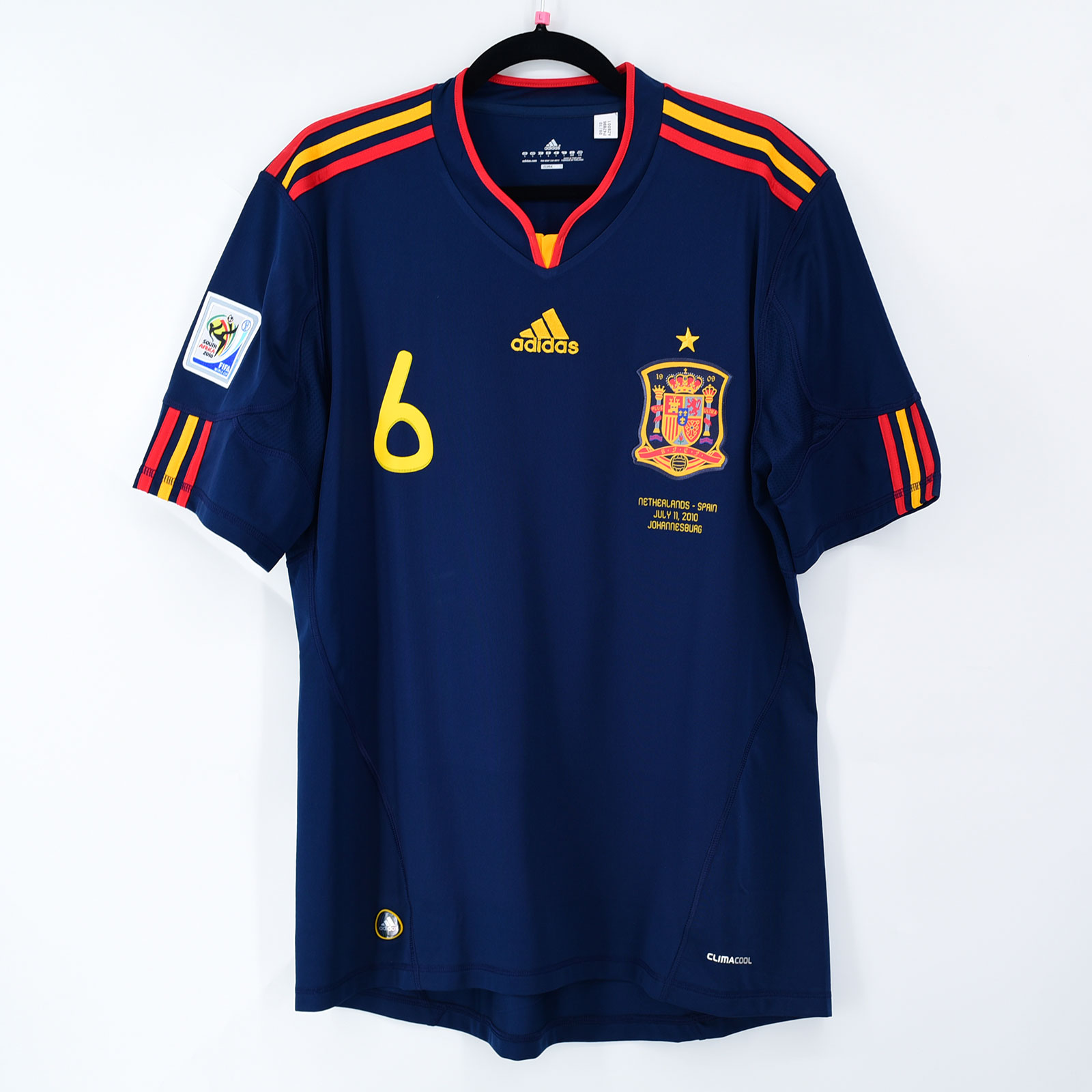 Final World Cup 2010 South Africa Spain Away Shirt #6 A. INIESTA (New) L Adidas