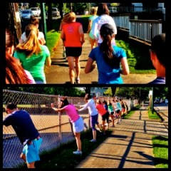 Running and stretching in the evening sun