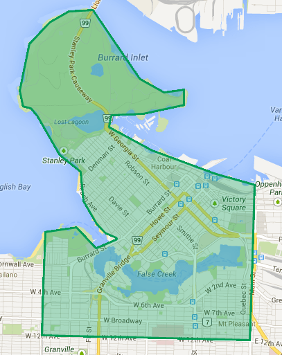 Proposed area for initial public bike share system in Vancouver