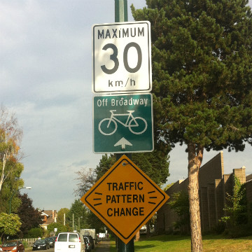 Spot improvements to the Off-Broadway bike route resulted in traffic pattern changes.