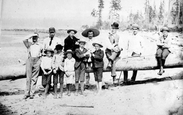 Group of men and boys on Greer's Beach (now Kitsilano Beach),1889 Matthews, James Skitt, Major